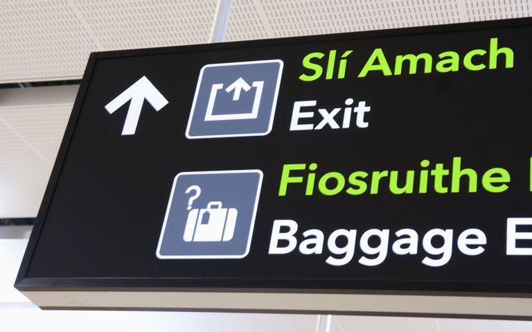 Irish English sign in an airport