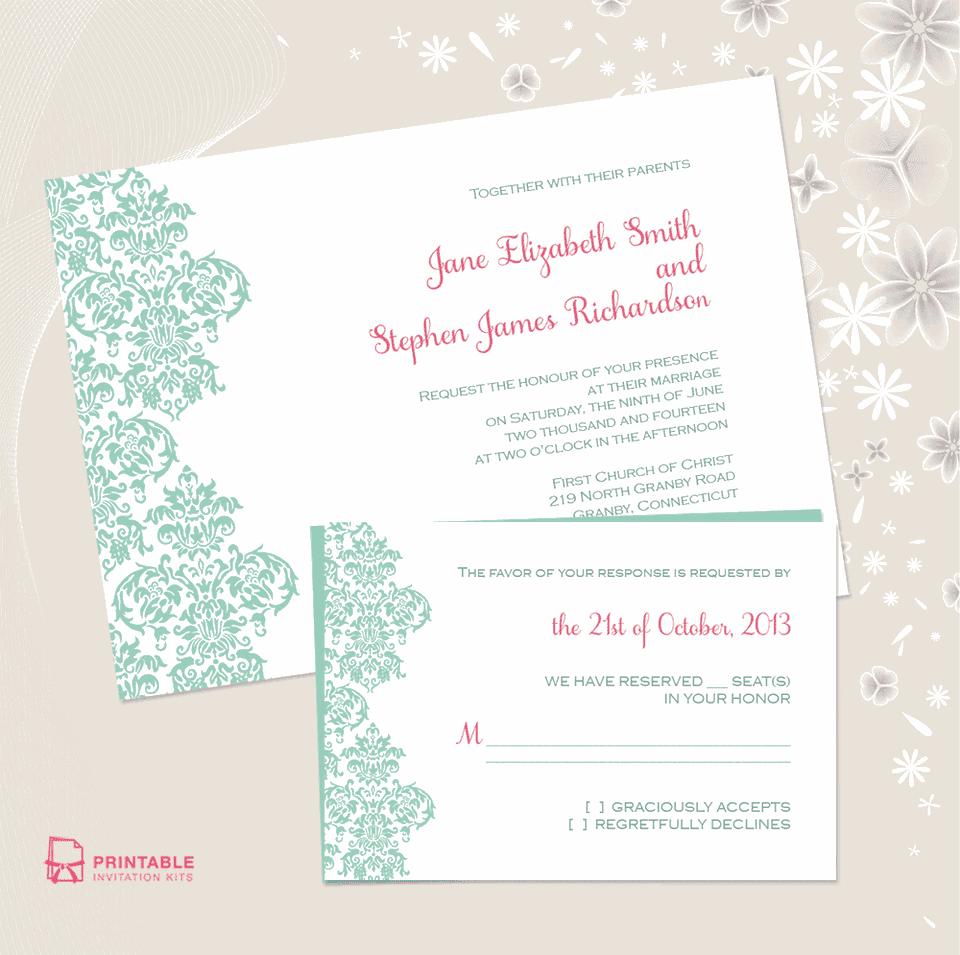 damask edge printable wedding invitation - Printable Wedding Invitation