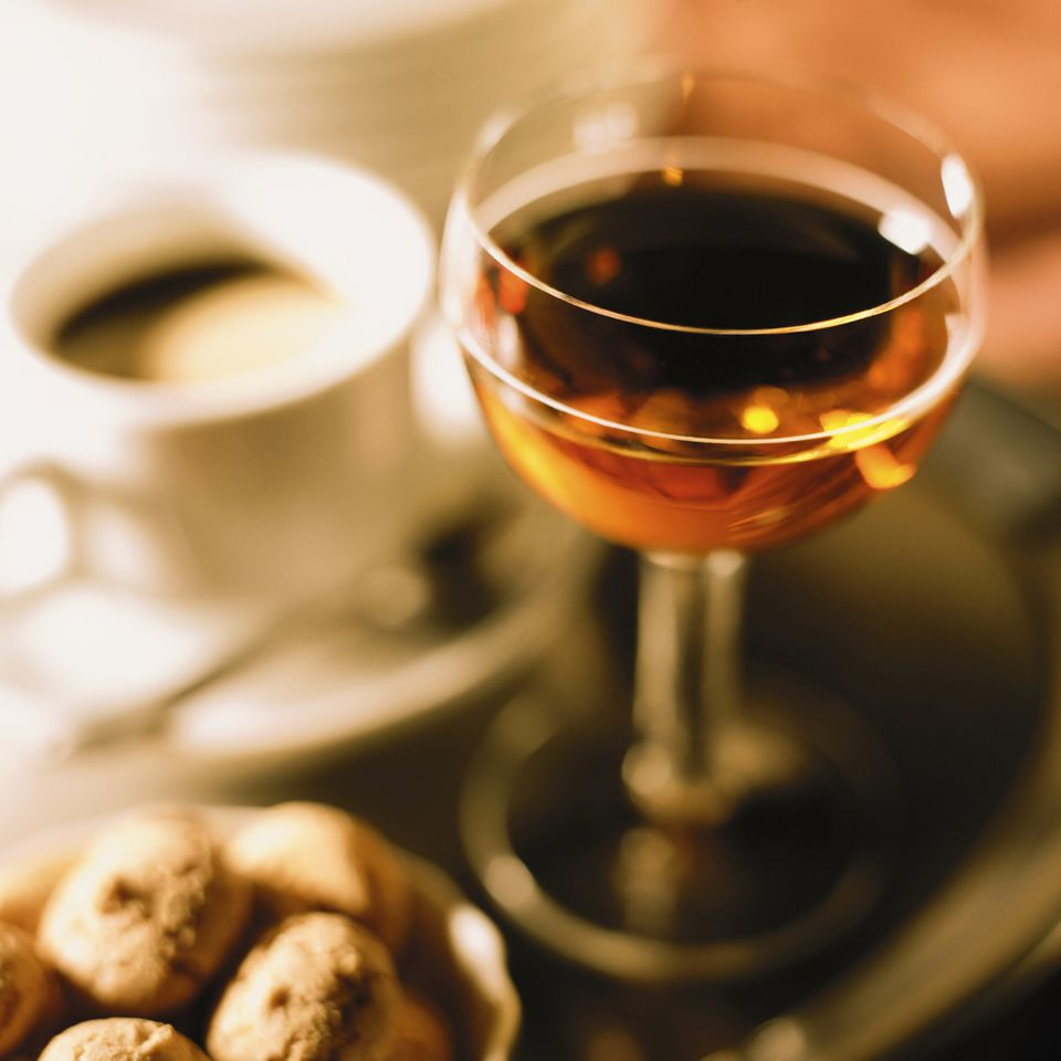 An amaro with espresso and biscotti