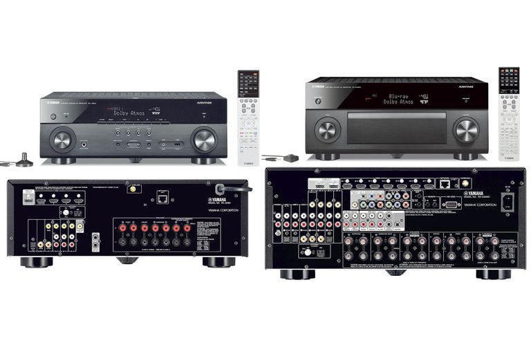 Yamaha AVENTAGE RX-A660 (left) and RX-A3060 (right) Home Theater Receivers