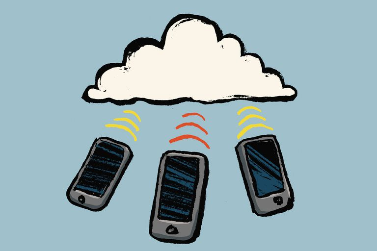 Illustration of smart phones and cloud against blue background