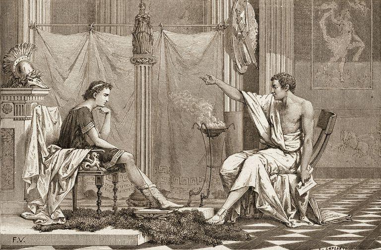 Grabado de Charles Laplante en el que Alejandro Magno escucha al filósofo griego Arquímedes.