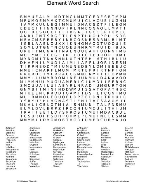 Element Word Search Puzzle And Answer 607528 on High School Worksheets With Answer Keys