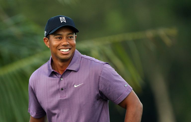 Tiger Woods smiles during a practice day for the 2008 CA Championship tournament