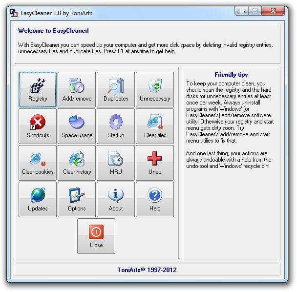 Screenshot of EasyCleaner v2.0