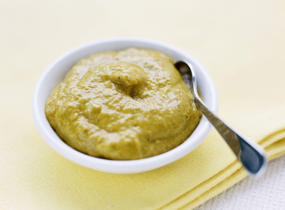 Dijon Mustard in a White Bowl