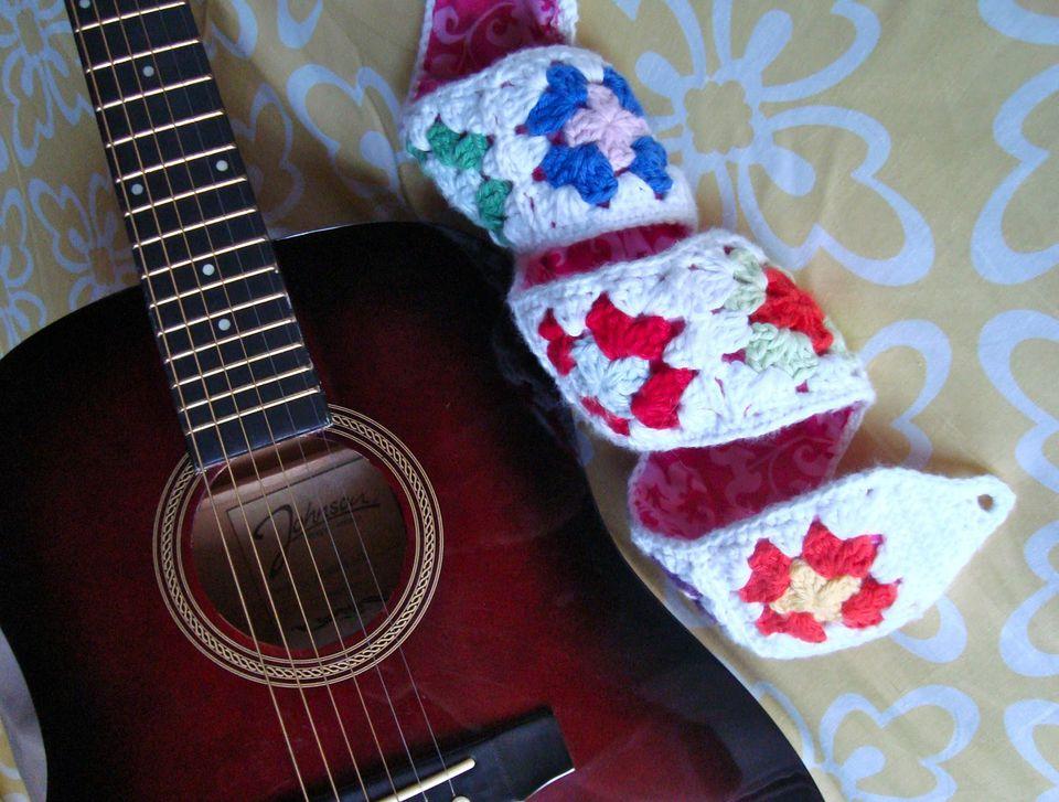 Granny Square Crochet Guitar Strap Free Pattern