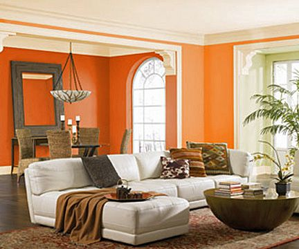 Bold Living Room With Analogous Color Scheme