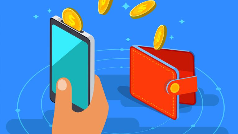 A cryptocurrency smartphone wallet and a real wallet