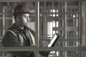 Reviewing electronic tablet on site