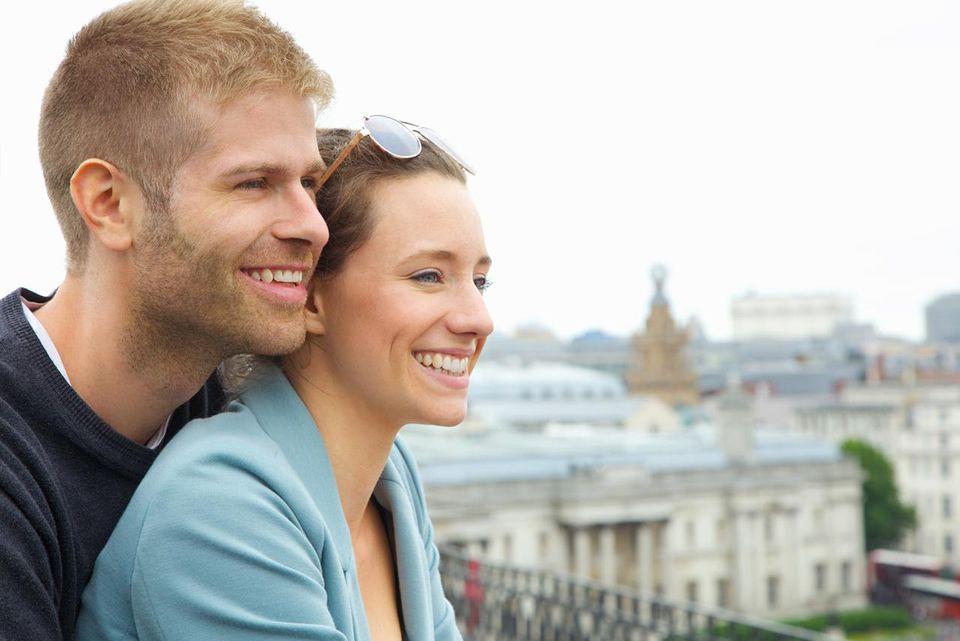 Couple enjoying view over London