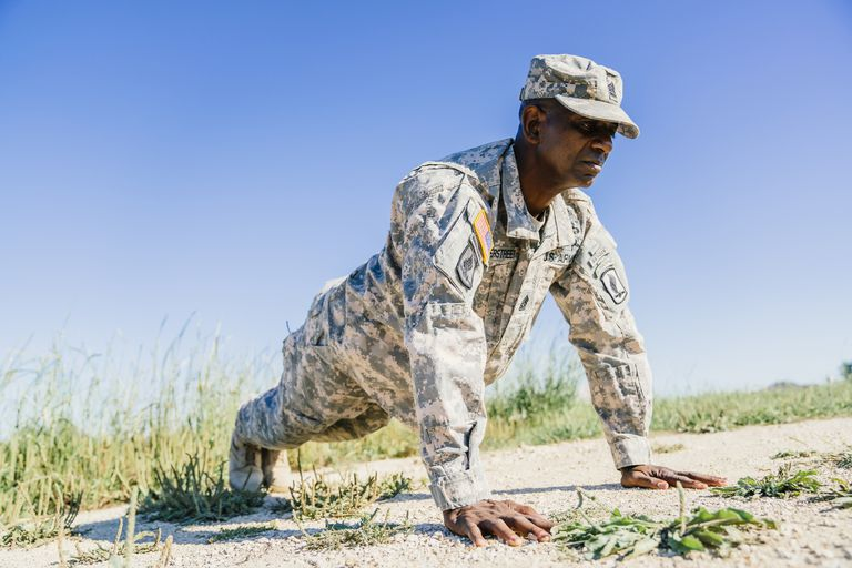 Soldier training with pushups