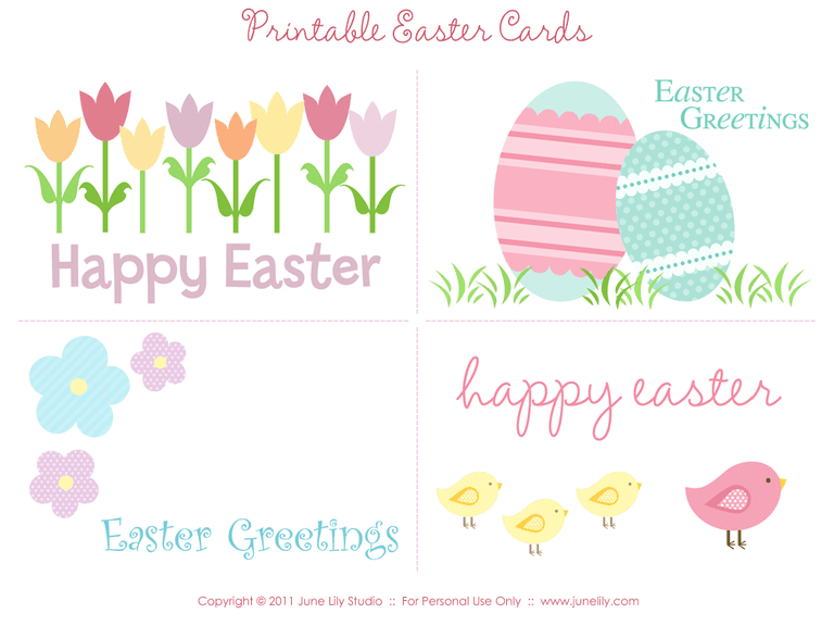 a set of four easter cards laying on a table