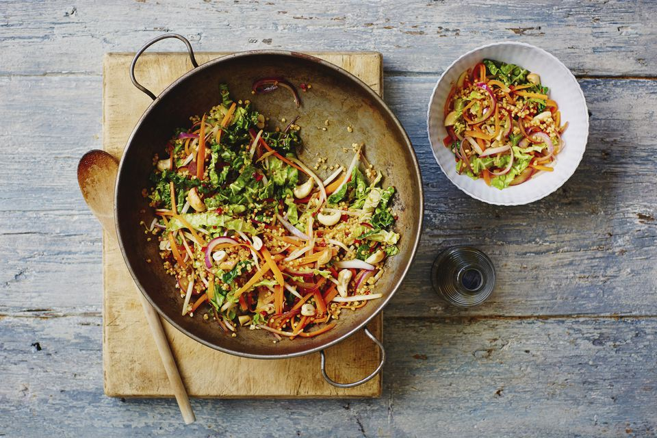 Millet and cashew stir fry with chilli and lime sauce