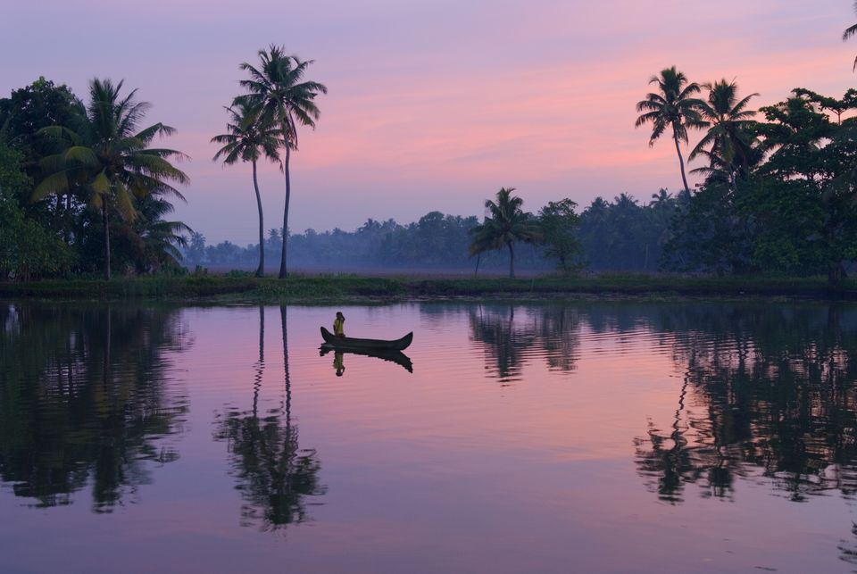 Sunrise over the Kerala backwaters.