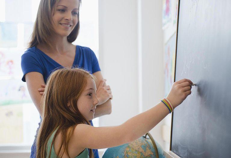 School girl (8-9) writing on blackboard with female teacher checking her