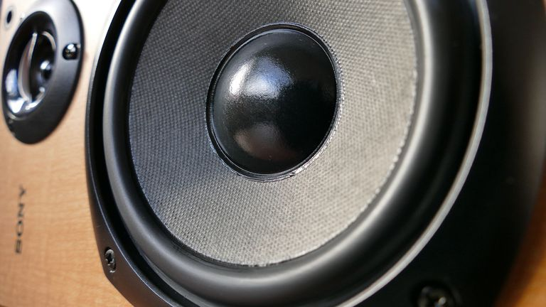 A close-up of a Sony speaker
