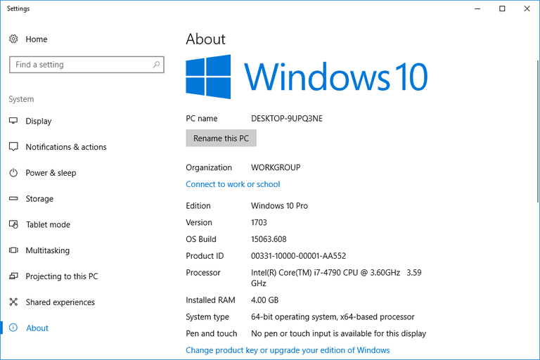 Screenshot of the Windows 10 about settings page