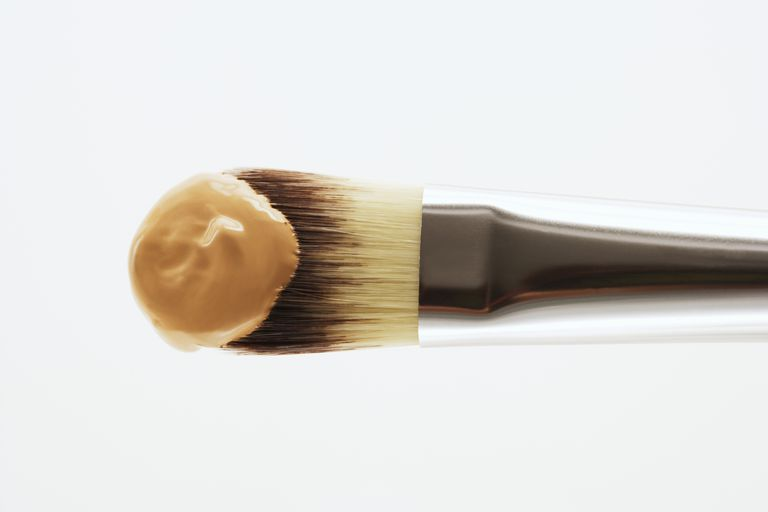 Makeup foundation on a brush
