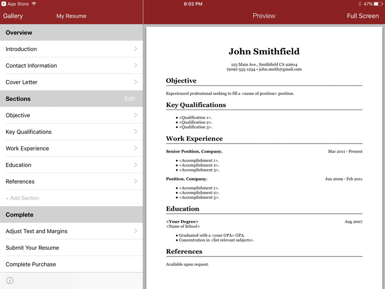 best resume builder app