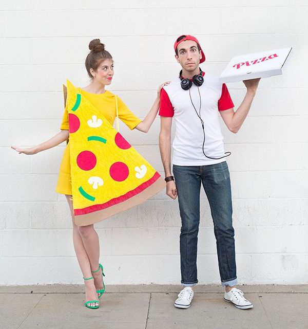 pizza and pizza delivery guy halloween costume for couples
