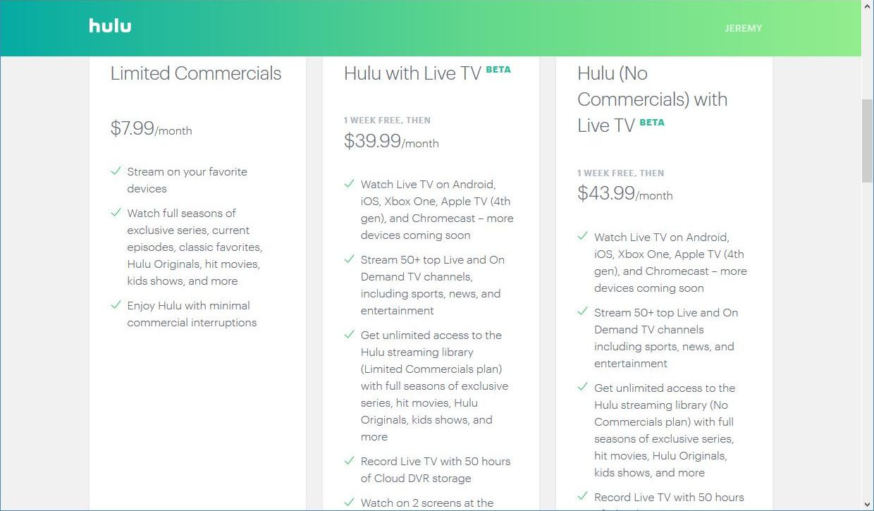 hulu with live tv plans