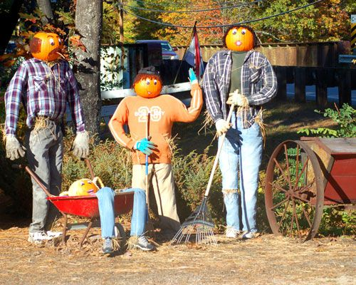 Picture: Scarecrows raking leaves. Scarecrow family doing yard work on fall day.