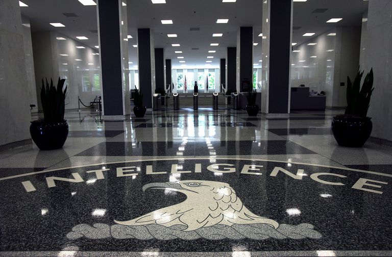 Seal in lobby at CIA headquarters in Langley, Virginia, USA