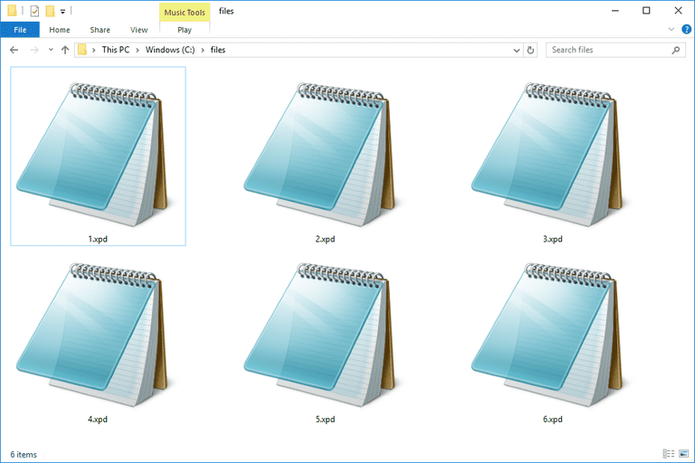 Screenshot of several XPD text files in Windows 10 that open with Notepad