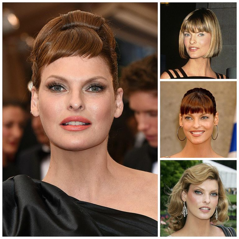 Linda Evangelista hairstyles from 1990 to 2015