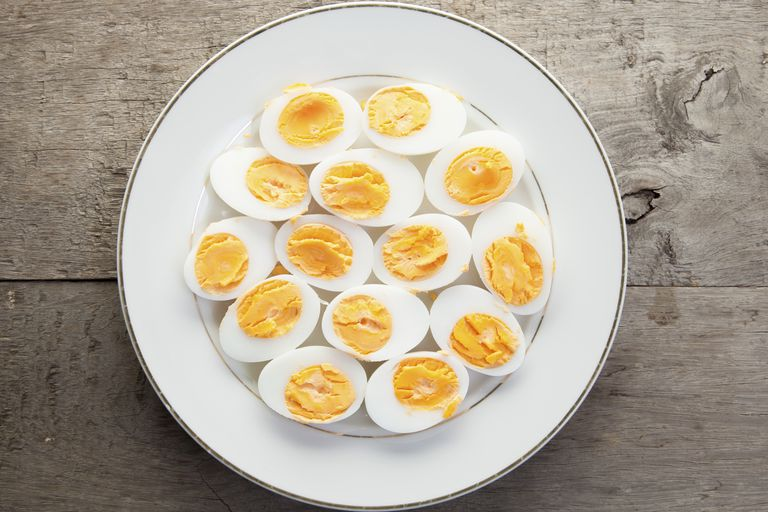 Hardboiled eggs on plate