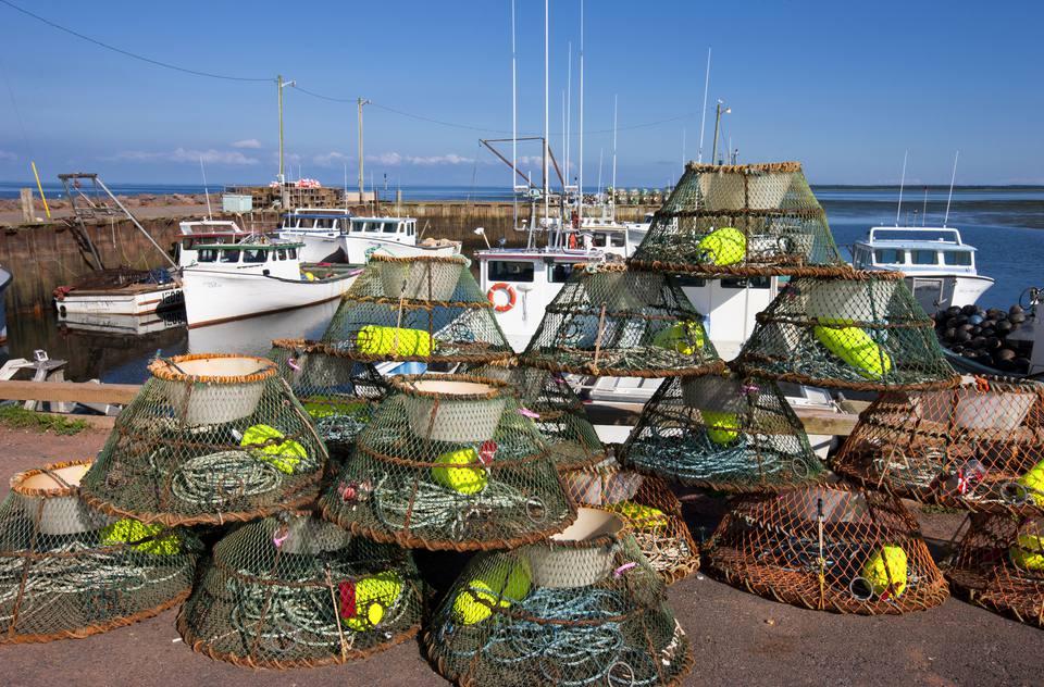 Crab traps, Nine Mile Creek Wharf, Prince Edward Island, Canada