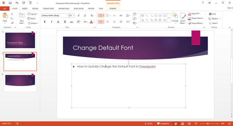 Powerpoint change font