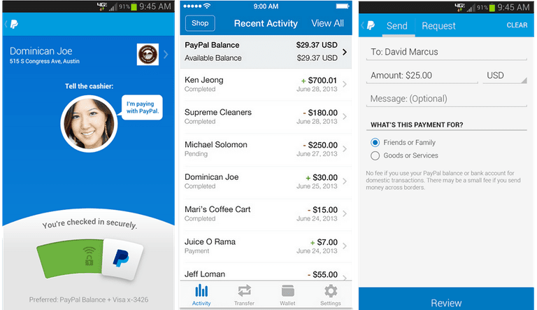 PayPal apps for iPhone and Android