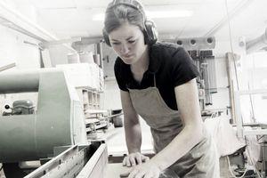 A carpenter in a workshop