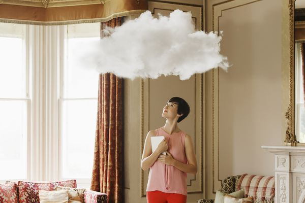 Woman with a cloud over her head