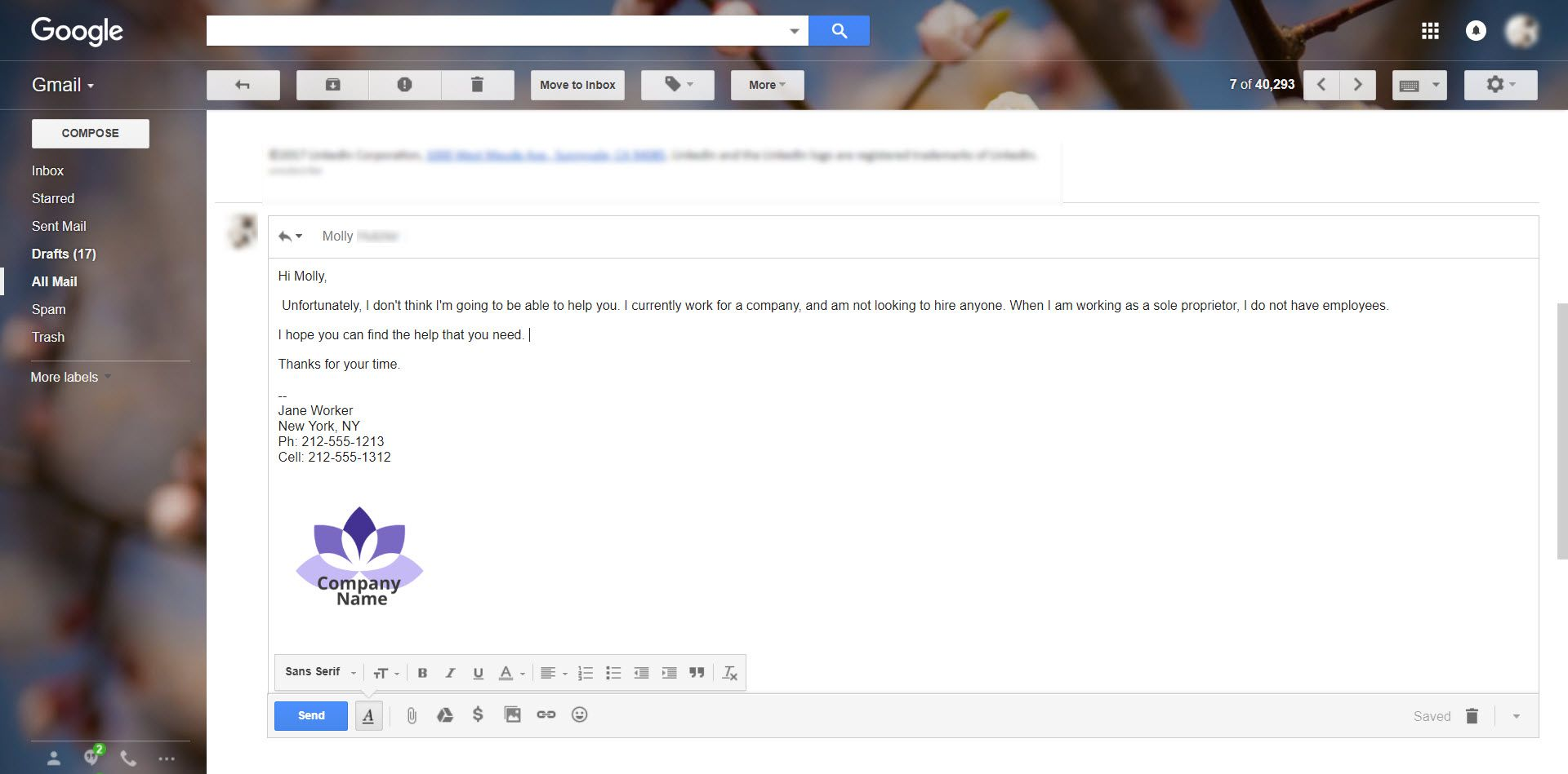 Screenshot of an email in Gmail with a quick on-the-fly signature added at the end of the mesage