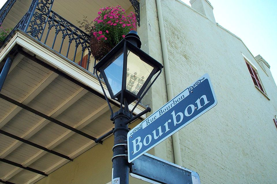 The famous Rue Bourbon (Bourbon Street) in New Orleans