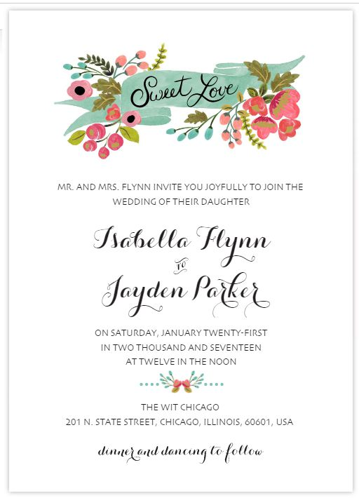 a modern floral free wedding invitation template - Wedding Invitations Free
