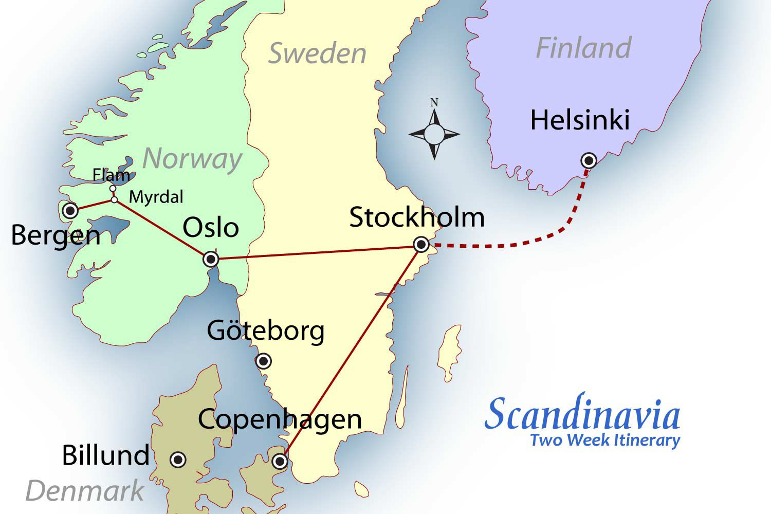 Scandinavia Suggested Itinerary Europe Travel - Sweden map lonely planet
