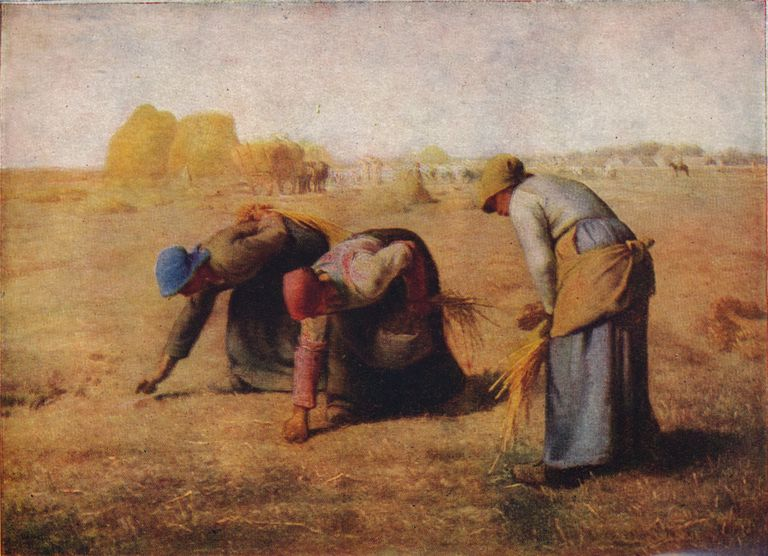 Painting by Jean Francois Millet of The Gleaners, three peasant women gleaning the remaining harvest
