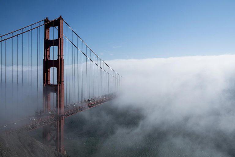 The Golden Gate Bridge in the fog