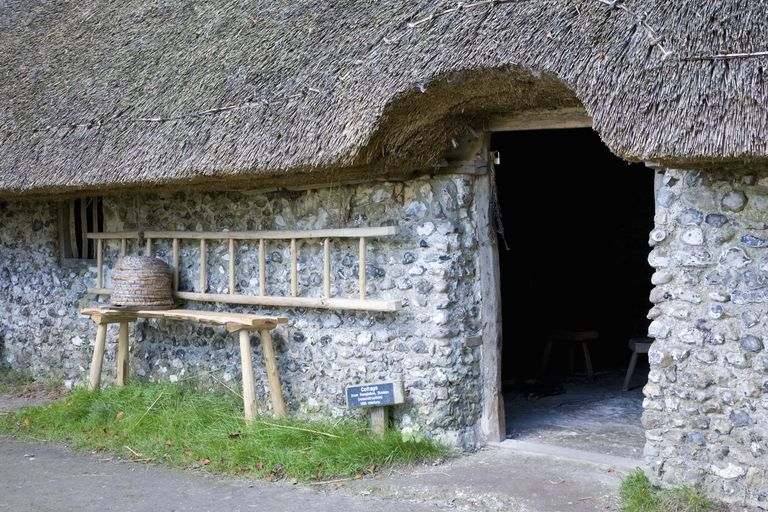 Entrance to 14th century thatched cottage at the Weald and Downland Open Air Museum.