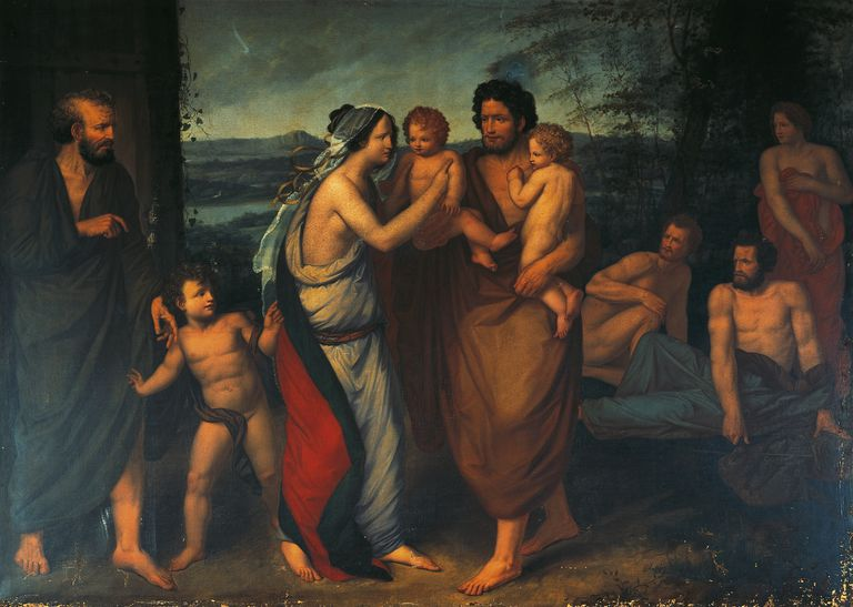 Faustulus bringing Romulus and Remus to his wife Lucrezia, by Felice Cattaneo (circa 1790-1827), oil on canvas, 163x223 cm, Roman Kingdom, Italy