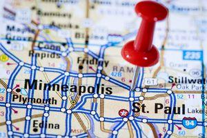 US capital cities on map series: Saint Paul, Minnesota, MN
