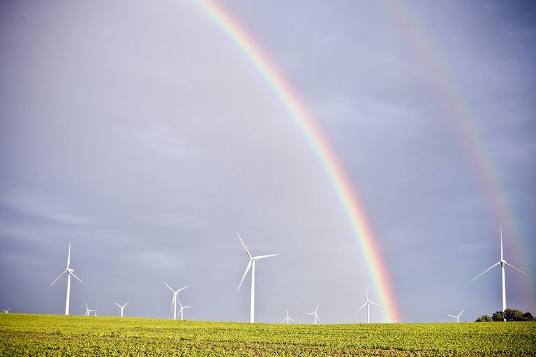 A rainbow over a soybean field and modern windmills.