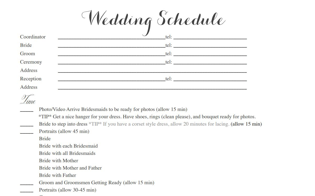 Free wedding itinerary templates and timelines junglespirit Images
