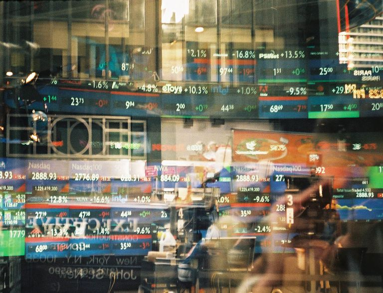 Financial figures on a reflection