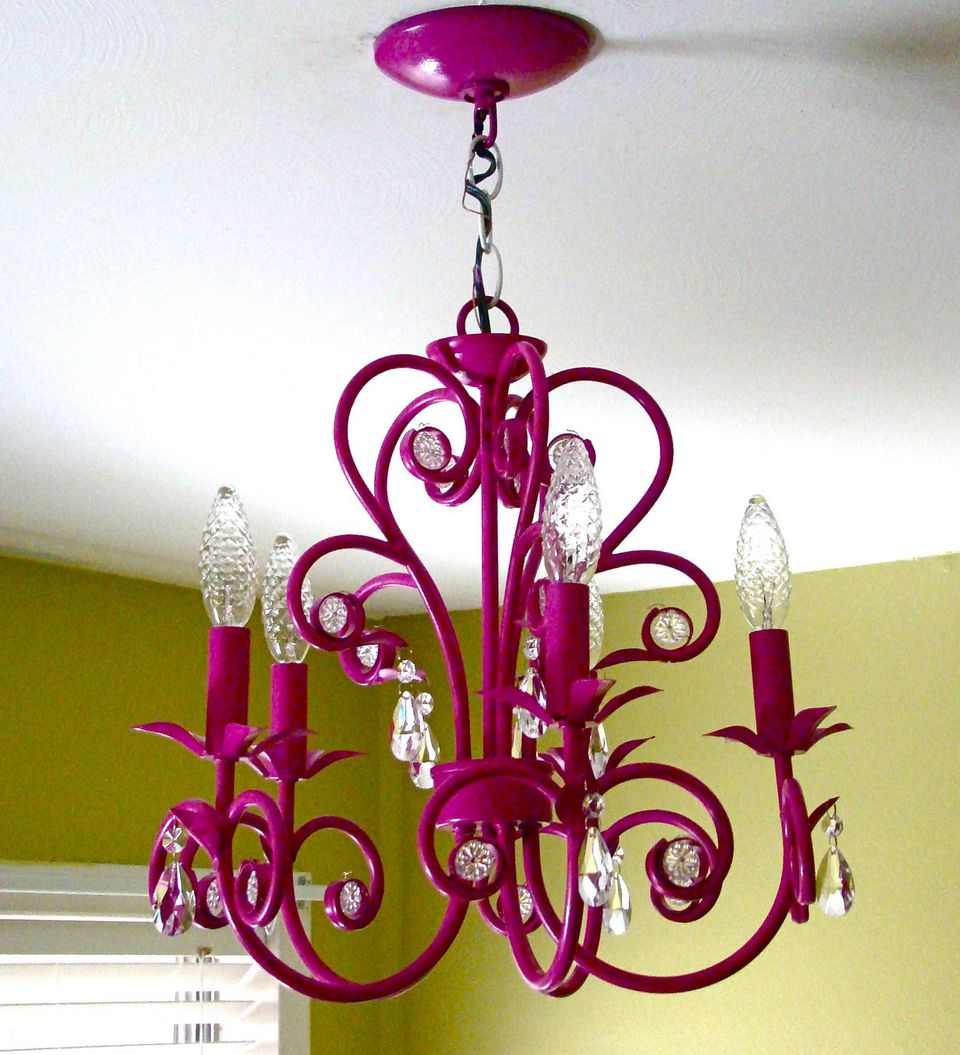 10 easy spray paint ideas for the nursery thrift store chandelier spray painted hot pink arubaitofo Images