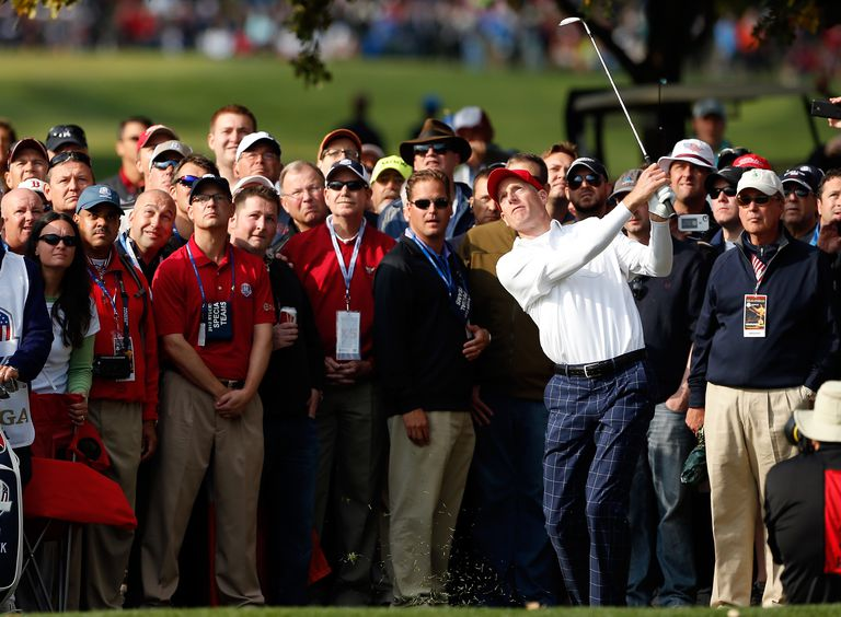 Jim Furyk hits a flop shot during the 2012 Ryder Cup